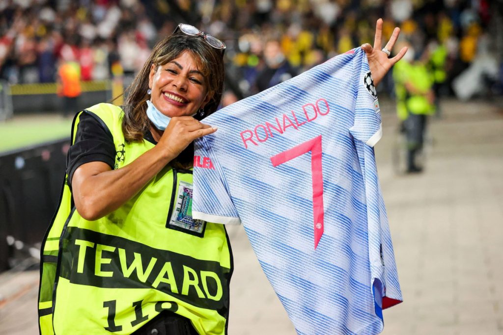 Cristiano Ronaldo makes steward's year by gifting shirt after hitting her with ball during warm-up to Manchester United's Champions League defeat to Young Boys