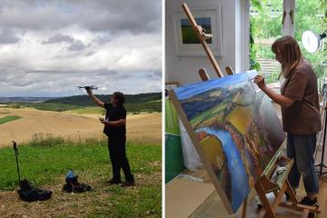 Drone photographer and painter join creative forces for Abingdon art show