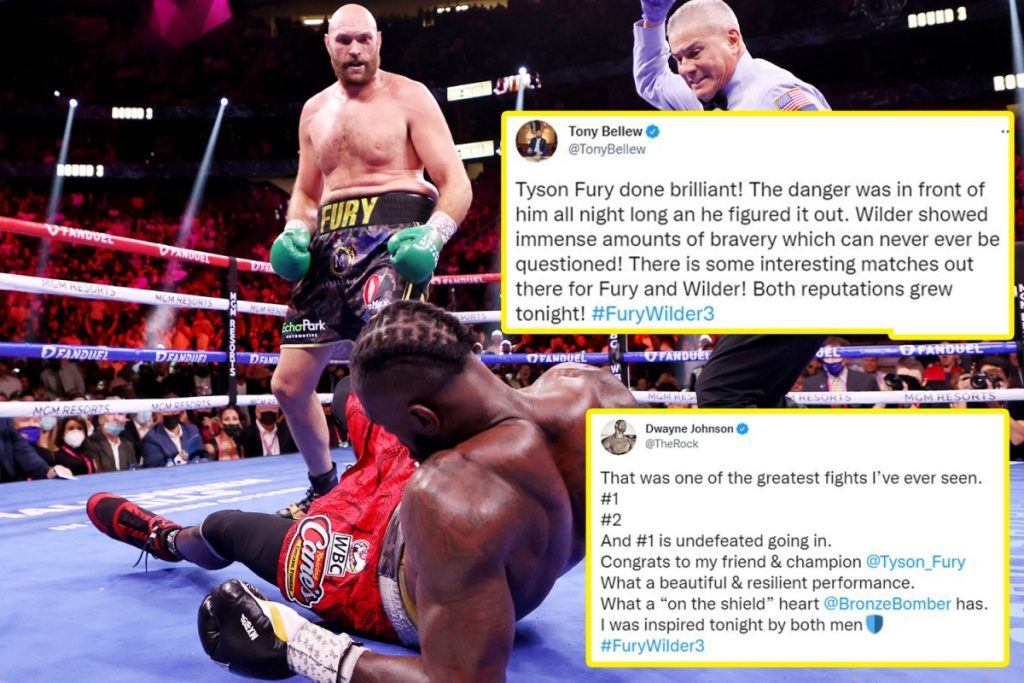 The Rock called Tyson Fury vs Deontay Wilder 'one of the greatest fights he's ever seen', Conor McGregor hailed both men as 'warriors' while Lennox Lewis, Mike Tyson and even Jake Paul were amazed by what they saw in the ring