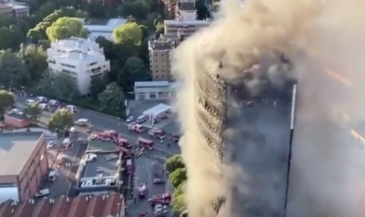 Italy inferno horror: Fire rips through 20-storey building in Milan with rescue underway