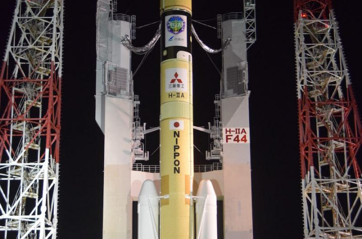 Japanese H-2A rocket ready for launch with navigation satellite